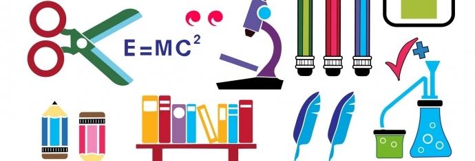 forskellige ikoner for fagene i skolen